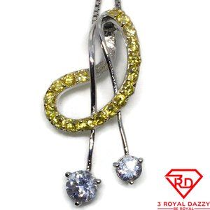Two color Cubic Zirconia Pendant white gold